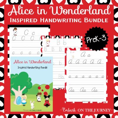 If you and your kids are fans of Alice in Wonderland, you need this fun new handwriting bundle I've created! There are three fonts included in this bundle - print, d'nealian, and cursive!   embarkonthejourney.com